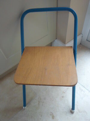 Vintage wooden  childs folding chair, blue tubular, plywood seat, camping, desk