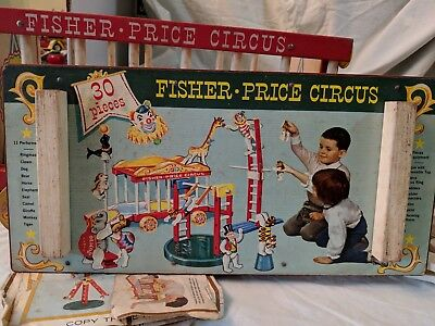 Vintage Fisher Price Circus Playset Pull Toy: Wood/plastic