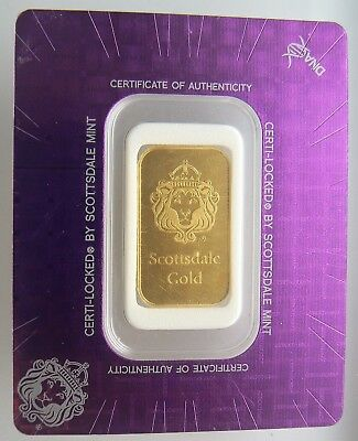 10 Gram Gold Bar - Scottsdale Mint (In Certi-Lock® Assay) Argor Heraeus .9999