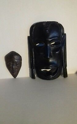 Hand Carved Tribal Mask And One Other