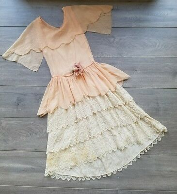Antique Dress Early to Mid 20th Century Gown with Silk Flower