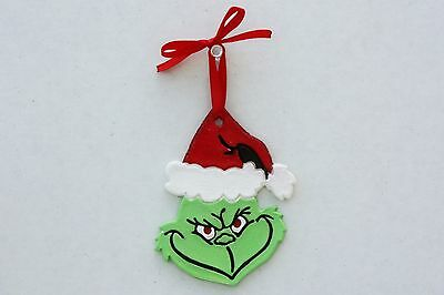 Grinch Face Christmas Ornament, Personalized Grinch Ornament - Handmade