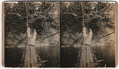 RARE Oversize Stereoview Photo - Canandaigua NY Lake - 1880 Sanitarium Farm
