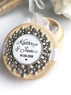 White Flower Personalised Wooden Wedding Ring Box Custom Names & Date Memory Box