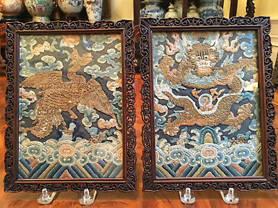 A Pair Excellent Chinese Qing Dynasty Textile Panels with Carved Rosewood Frame.