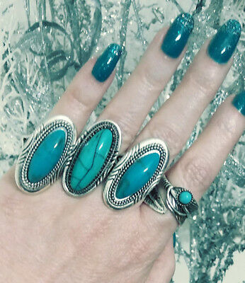 Mixed Lot of 4 Big BOHO Fashion Rings In Various Sizes, Party Favors, Gifts