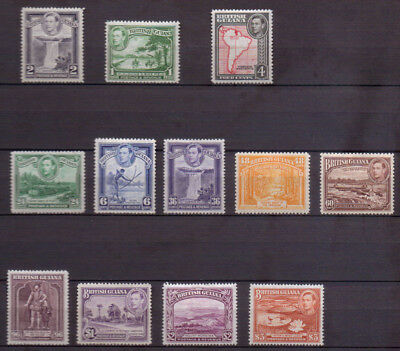 1938-1952 British Guiana Mounted Mint MH King George VI scenic stamps x 12