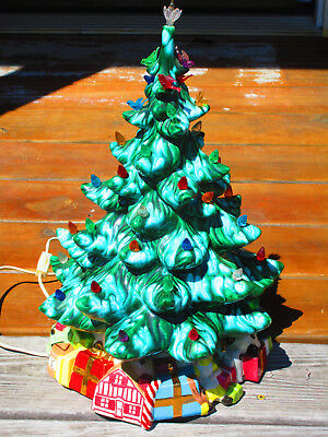 vintage ceramic christmas tree 17 inches tall lights up and base - Vintage Ceramic Christmas Tree