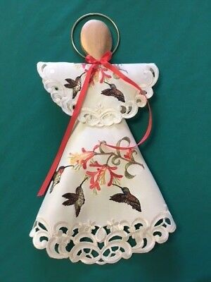 """15"""" Embroidered Hummingbird Angel decoration made from Doily"""