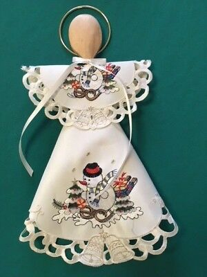 """15"""" Embroidered Snowman Christmas Holiday Angel decoration made from Doily"""