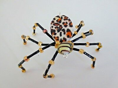 "Artist Crafted  Beaded ""Christmas Spider "" OOAK with Story Leopard"