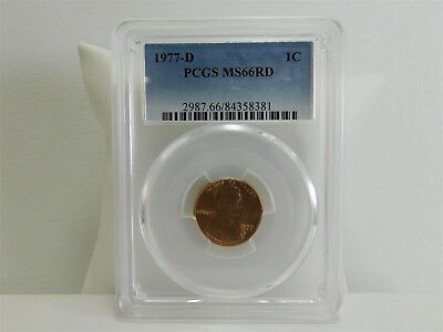 1977-d PCGS MS66RD 1C Lincoln Memorial Cent Penny Certified Uncirculated MC1328