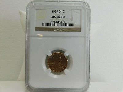 1959-D NGC MS66RD 1C Lincoln Memorial Cent Penny Certified Uncirculated MC1305