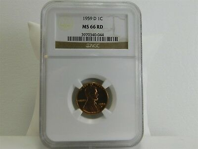 1959-D NGC MS66RD 1C Lincoln Memorial Cent Penny Certified Uncirculated MC1304