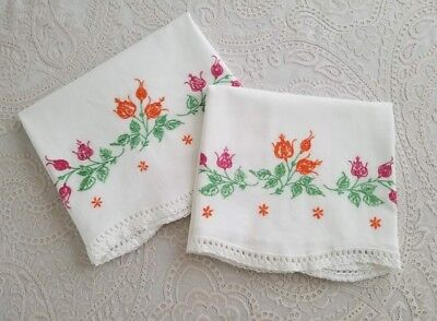 Vintage Embroidered White Cotton Pillowcases Floral Crocheted Trim Linens