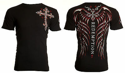 ARCHAIC by AFFLICTION Mens T-Shirt SPINE WINGS Motorcycle BLACK Biker UFC $40