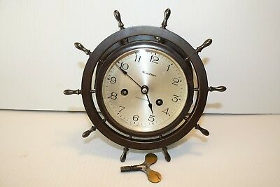 VINTAGE Brass WATERBURY SHIPS WHEEL Clock JEWELED MOVEMENT Nautical Maritime