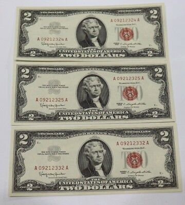 Unc 1963 $2 2/3 Consecutive Dollar Bills United States Red Seal Note