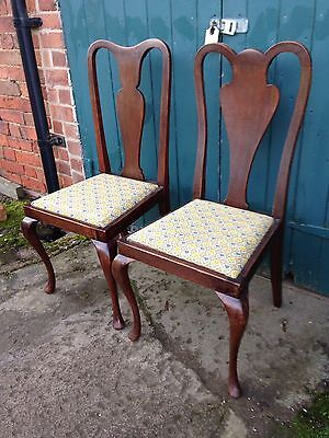 Pair of Antique Victorian Mahogany & Woolwork Queen Anne Dining Hall Chairs
