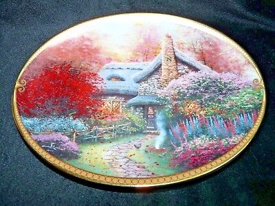"""Thomas Kinkade Oval Collector Plate ASHLEY'S COTTAGE Scenes of Serenity 8 3/4"""""""
