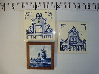 3 Delft Blue Ceramic Tiles -  2 Coasters KLM Airlines and 1 Framed