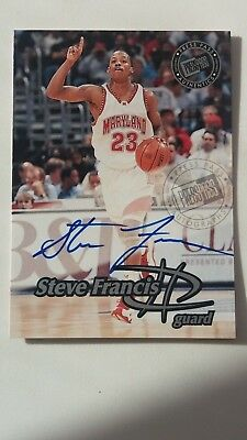 1999 Press Pass STEVE FRANCIS autograph #nno, on card auto Maryland Rockets!