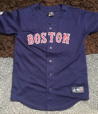 "Majestic Boston Red Sox Kids Baseball Jersey Size L 18"" Pit To Pit"