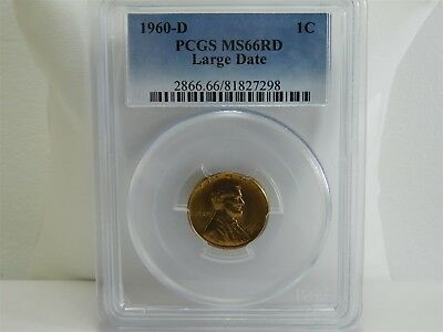 1960-D PCGS MS66RD Large Date 1C Lincoln Memorial Cent Penny UNC MC1437