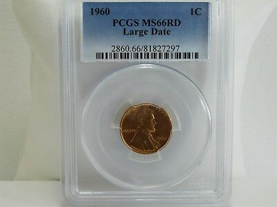 1960 PCGS MS66RD Large Date 1C Lincoln Memorial Cent Penny UNC MC1433