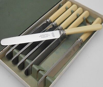 Vintage Faux Bone Handled Table Knives - Eagers Derby Firth Brearley Cutlery