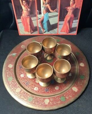 Vintage Collectable Middle eastern brass folk Art Etched Painted Cup Tray Set