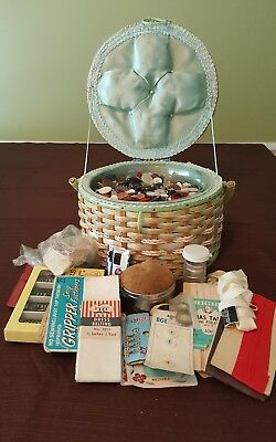 VINTAGE SEWING BASKET BUTTONS and SEWING ACCESSORIES