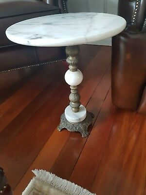 Antique Marble Side Table -48cm tall