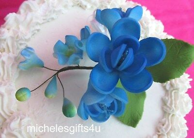 Gum Paste Sugar Blue Roses Leaves & Ribbon Cake Decorating Flowers