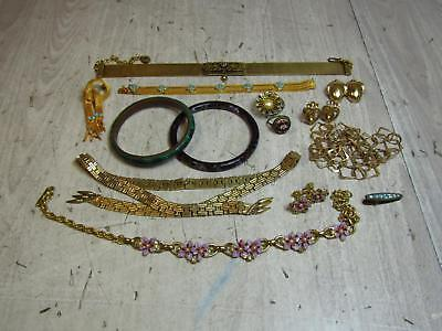 Vintage Costume Jewelry Lot Cloisonné Bangle Micro Mosaic Ring Necklaces AS IS