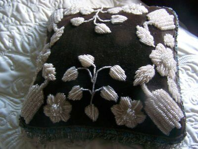 Antique Victorian Iroquois Pillow Cushion Black and White Truly a Work of ART