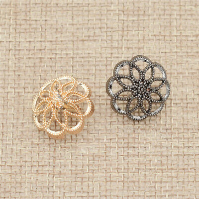 15mm/18mm Hollow Flower Buttons DIY Clothes Sewing Craft Supplies Gold Gun Black