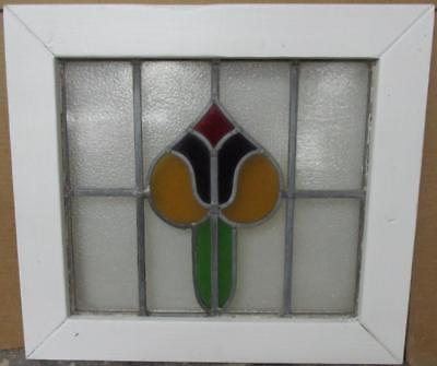 "OLD ENGLISH LEADED STAINED GLASS WINDOW Pretty Abstract Design 20.5"" x 18.5"""