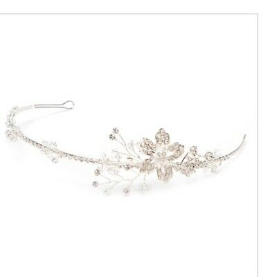 David Tutera Bridal Flower Floral Crystal Headband Tiara Silver