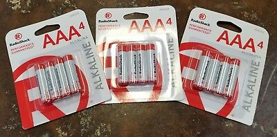 NO RESERVE - Lot of 3 (12-pack total) New RadioShack AAA Batteries (4-pack)***