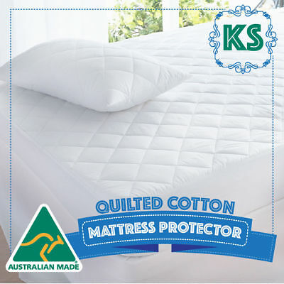 KING SINGLE Bed Cotton Quilted Australian Made Fully Fitted Mattress Protector