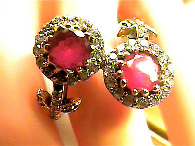Vintage Antique Ruby  Silver Ring 10.5 Medieval Natural Sapphire Sterling 925