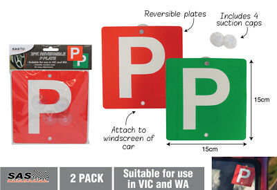 2pk Reversible P Plate (Red & Green) for Victoria & Western Australia Brand New