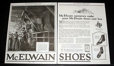 1921 OLD MAGAZINE PRINT AD, McELWAIN SHOES, TANNERIES MAKE YOUR SHOES COST LESS!