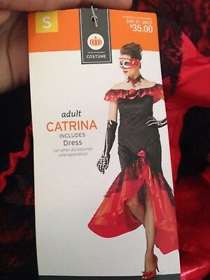 Adult Catrina Red Black Dress Sz XL 16-18 Halloween Costume New With Tags