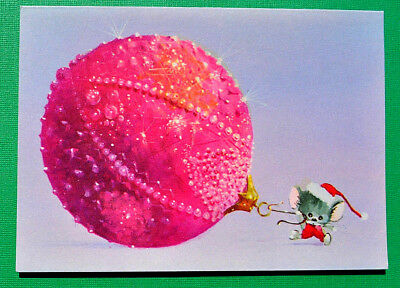 SANTA MOUSE Unused NORCROSS Pulls a Pink Xmas Ornament~VTG Greeting CARD~Red Hat