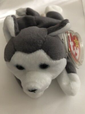 1996 Ty Original Beanie Baby Nanook the Husky Dog New with Tags w/Tag Protector