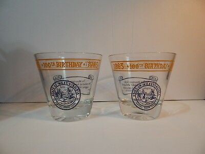 Lot Of 2 1963 West Virginia Centennial Whiskey Glasses 1863-1963 Happy Birthday