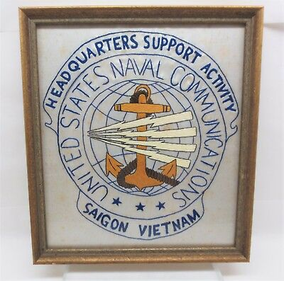 Vintage Vietnam 1965-67 USN Naval Communications Saigon Embroidered Logo Framed