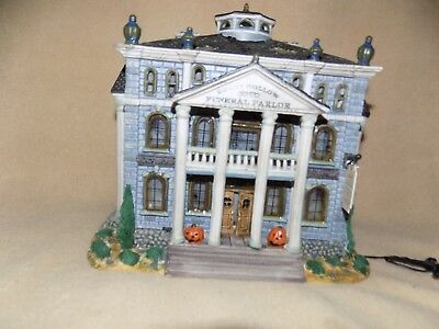 Lighted Lemax 2000 Porcelain Haunted Lighted Funeral Parlor ~Shady Hollows
